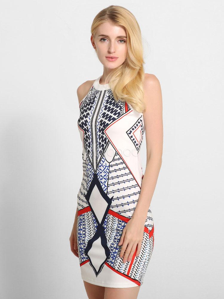 Buy White Bodycon Dress Round Neck Sleeveless Geometric Print Short Dresses For Women for $24.29 in Milanoo store