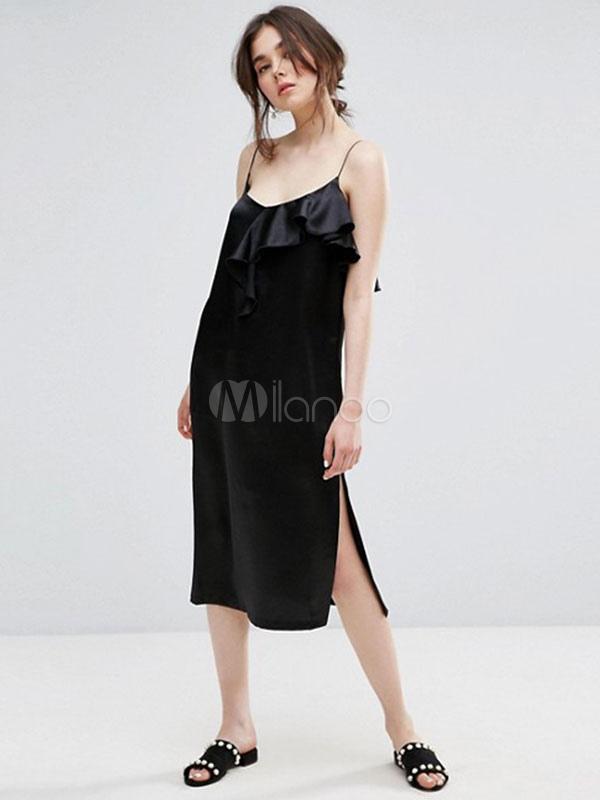 Buy Black Shift Dress Sleeveless Ruffles Split Casual Dresses For Women for $19.54 in Milanoo store