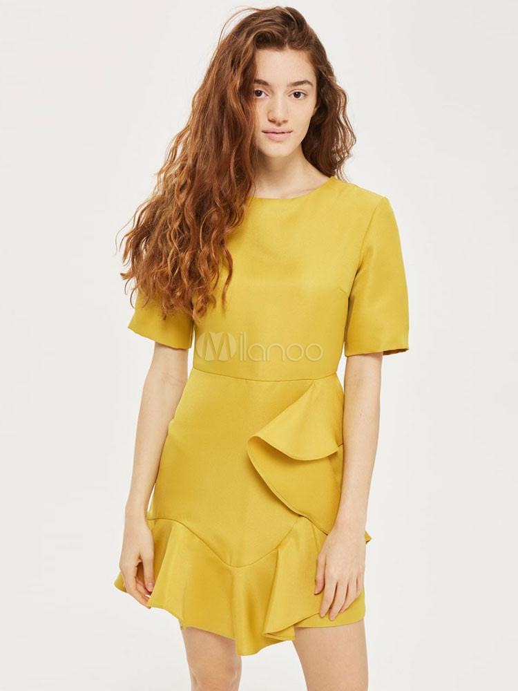 Buy Yellow Skater Dress Round Neck Short Sleeve Ruffles Asymmetrical Summer Short Dresses For Women for $22.49 in Milanoo store