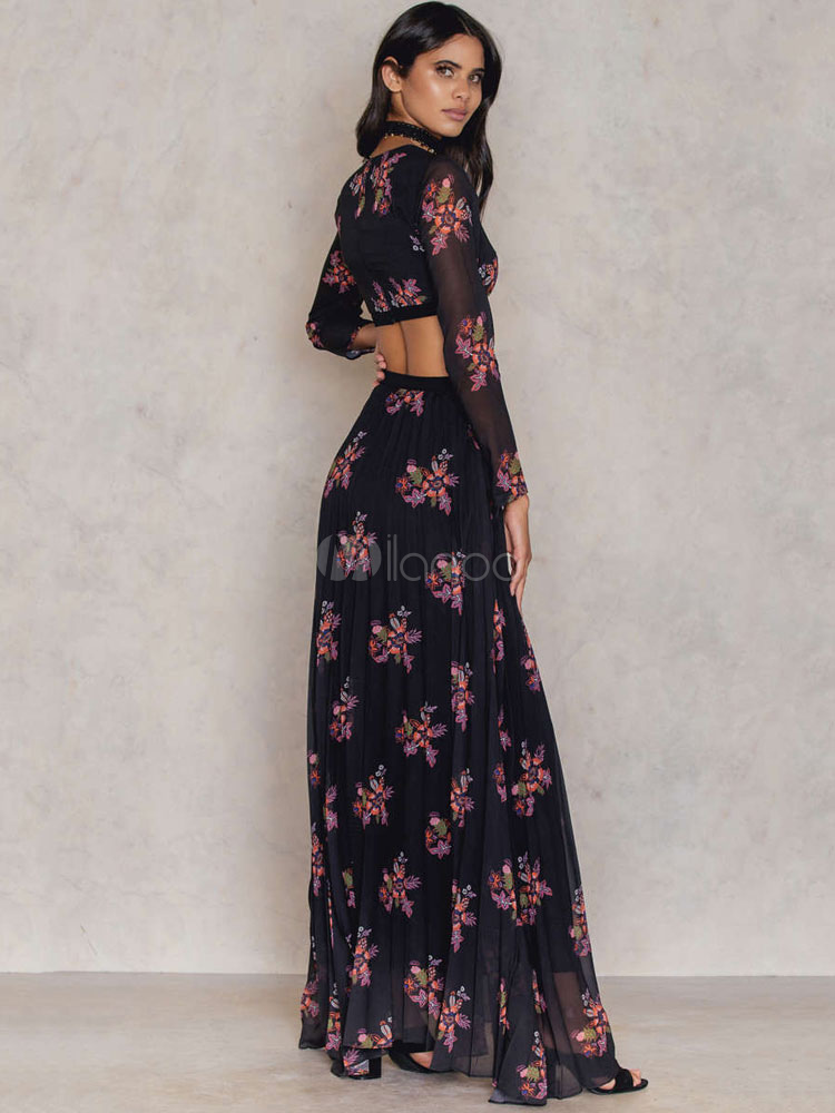 black long dress v neck long sleeve floral print cut out