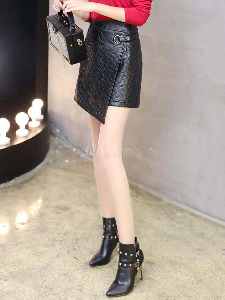 attrayante jupe mode en pu noir unicolore coupe asym trique. Black Bedroom Furniture Sets. Home Design Ideas