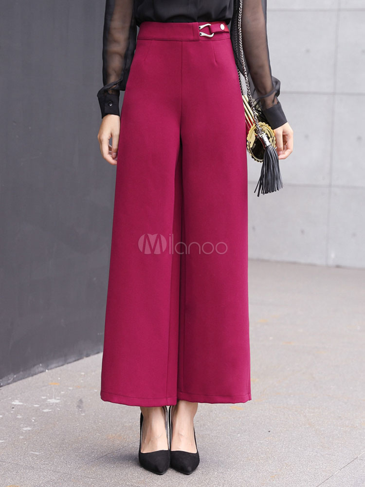 Buy Rose Long Pants High Waisted Wide Leg Pants For Women for $37.99 in Milanoo store