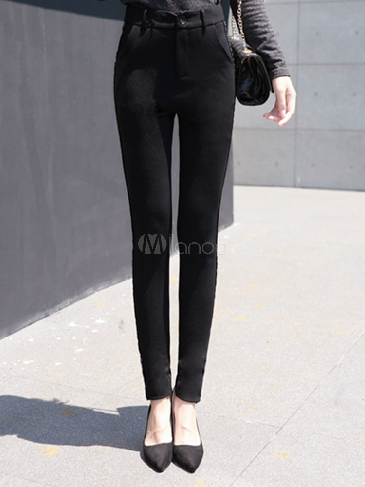 Buy Black Skinny Pants Women's High Waisted Long Pants for $42.74 in Milanoo store
