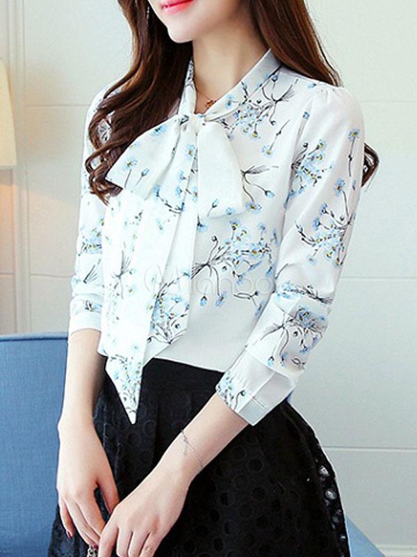 e17ff3d9da3 Blusa de satén elástico con cuello esmoquin con manga larga con estampado  estilo moderno-No ...