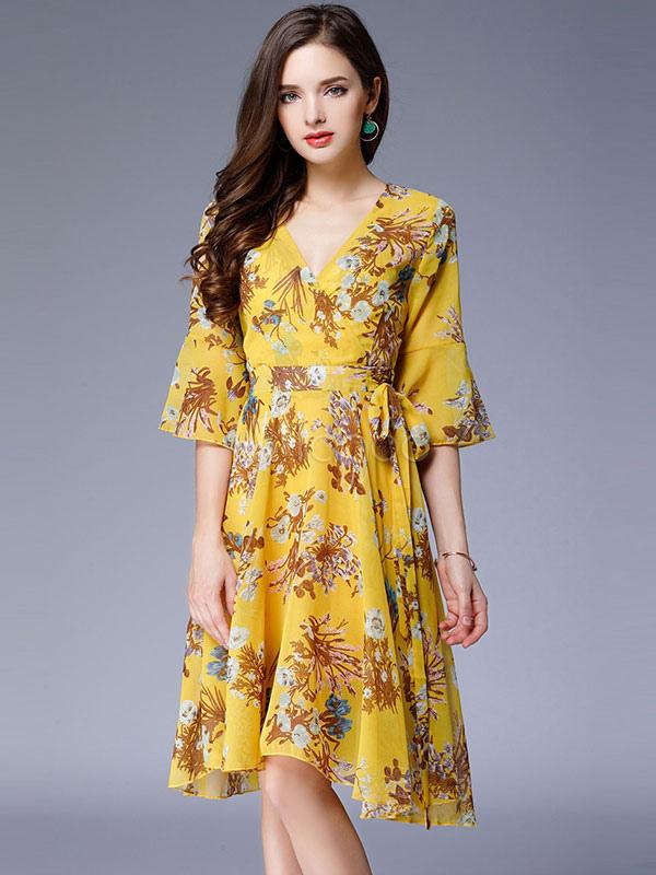 Buy Yellow Skater Dress V Neck Bell Sleeve Chiffon Floral Print Women's Dresses for $28.49 in Milanoo store