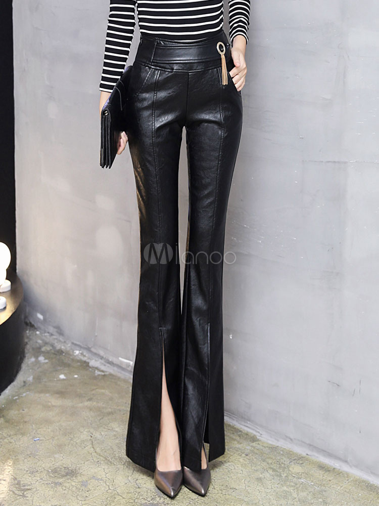 Black Long Pants Women's PU Split Flared Pants Cheap clothes, free shipping worldwide
