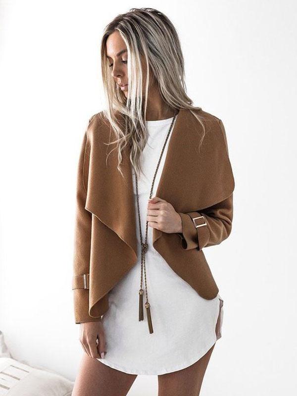 Women Spring Jacket Khaki Long Sleeves Short  Casual Waterfall Jacket