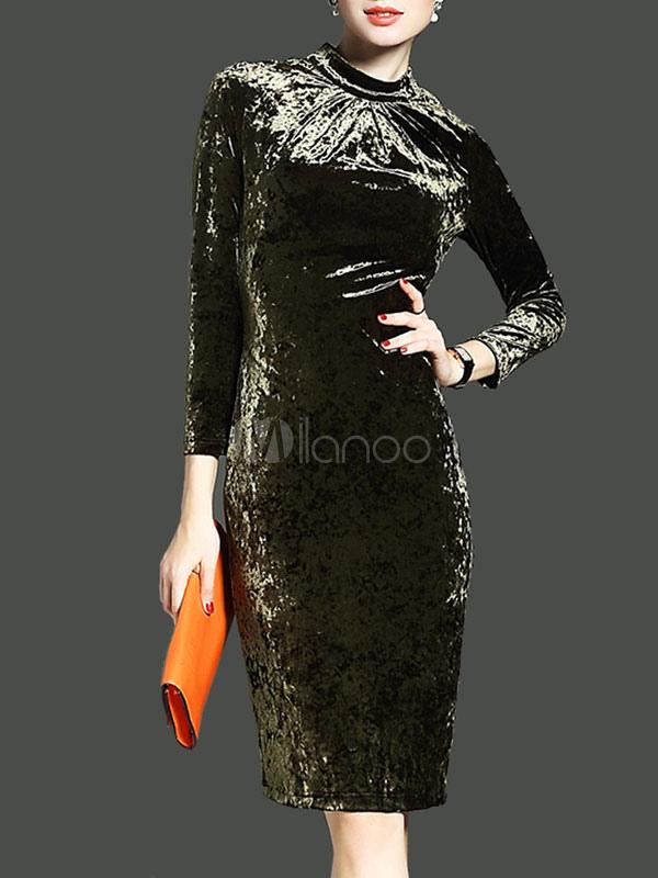 Women's Bodycon Dress Hunter Green Round Neck Velour 3/4 Length Sleeve Midi Dresses