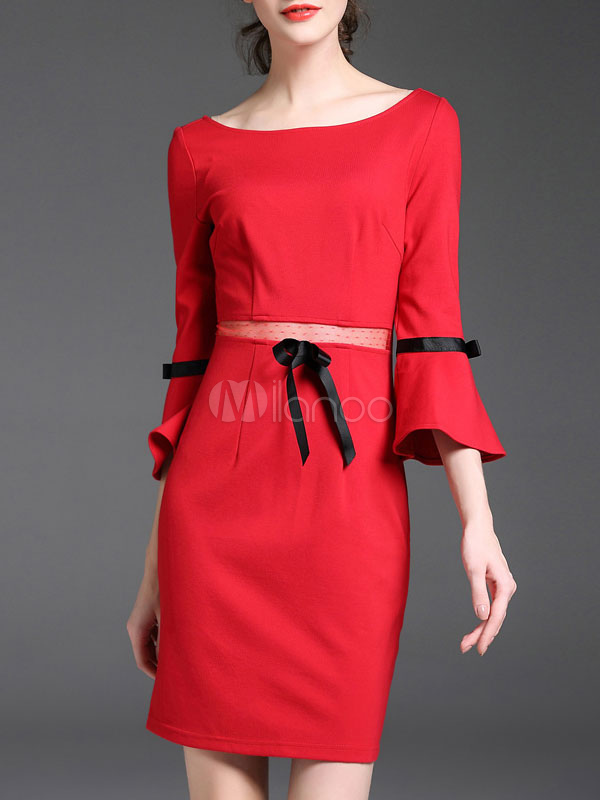 Buy Red Bodycon Dress Round Neck Bell Sleeve Two Tone Short Sleeve Dresses For Women for $28.49 in Milanoo store