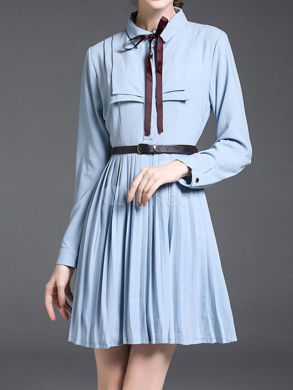 Buy Women's Skater Dress Long Sleeve Bows Turndown Collar Pleated Light Blue Short Dresses for $37.99 in Milanoo store