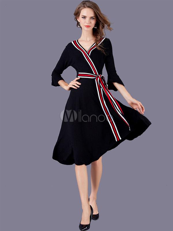 Buy Black Skater Dress V Neck Bell Sleeve Striped Wrap Dresses For Women for $33.24 in Milanoo store
