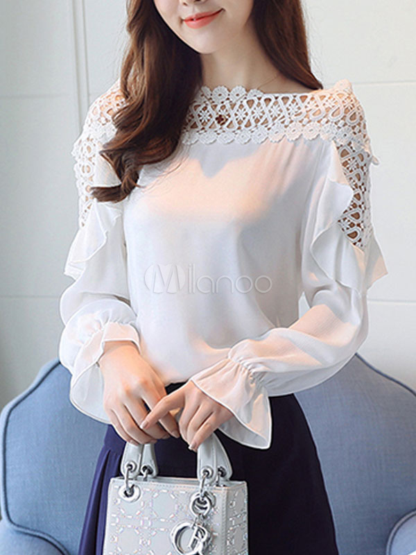 Buy White Casual Blouses Lace Bell Sleeve Bateau Neck Women's Top for $23.74 in Milanoo store