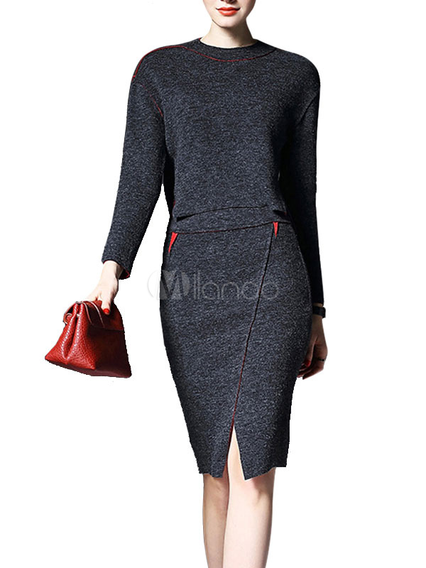 Grey Skirt Set Long Sleeve Round Neck Split Two Tone Women's Wool Top With Bodycon Skirt Cheap clothes, free shipping worldwide