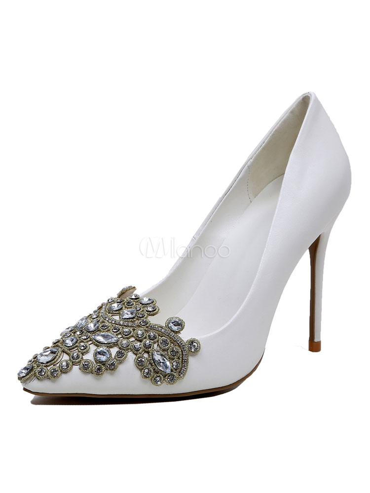 Buy White Wedding Shoes Pointed Toe High Heel Stiletto Rhinestones PU Bridal Pumps for $62.99 in Milanoo store