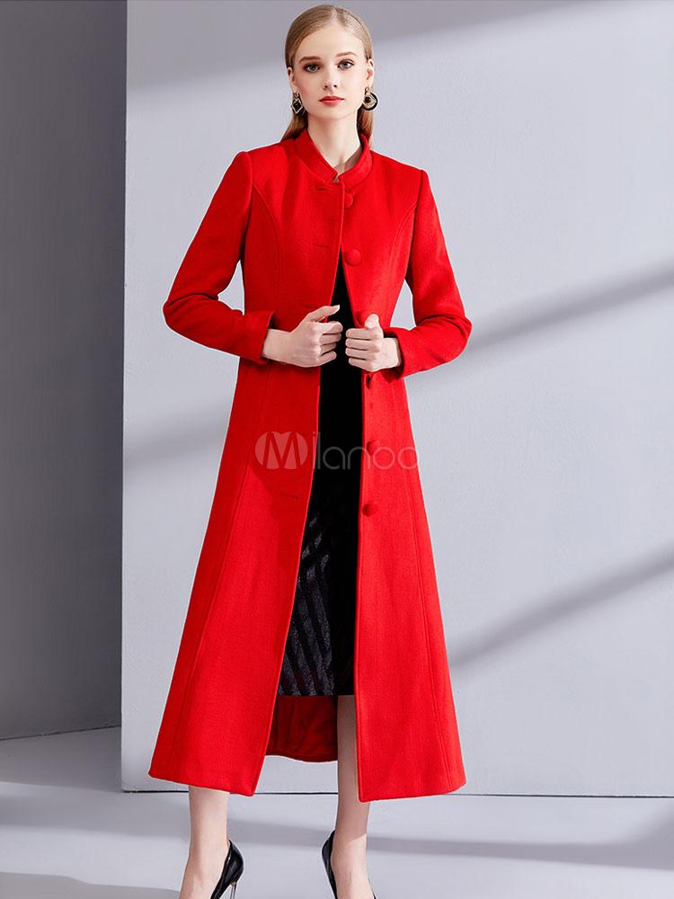 discount look good shoes sale fantastic savings Red Winter Coat Long Sleeve Stand Collar Women's Wool Coats