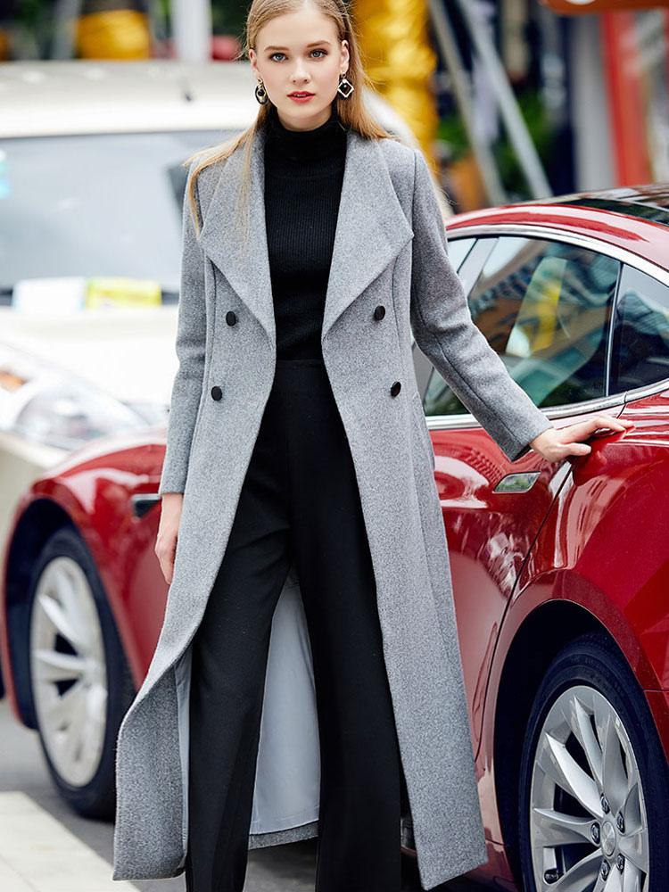 Grey Pea Coat Long Sleeve Turndown Collar Shaping Women's Wool Coats