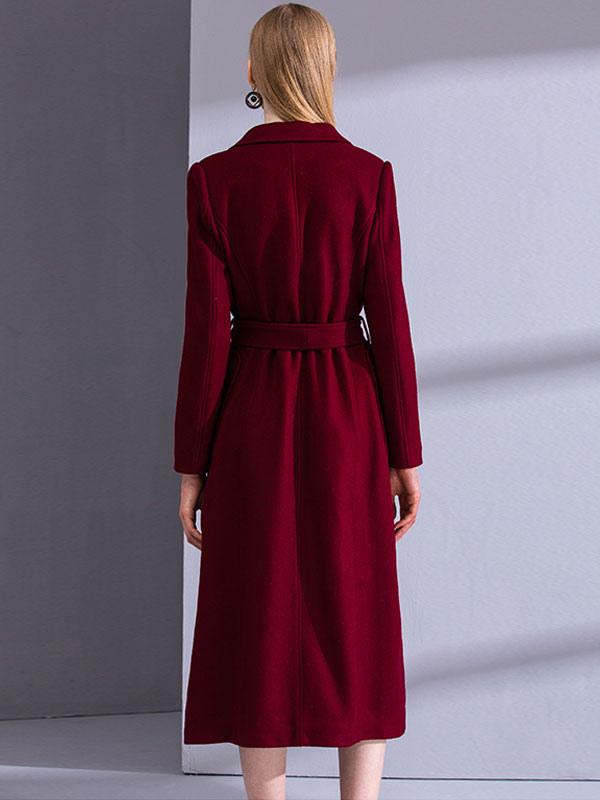Burgundy Winter Coat Long Sleeve Notch Collar Wool Wrap