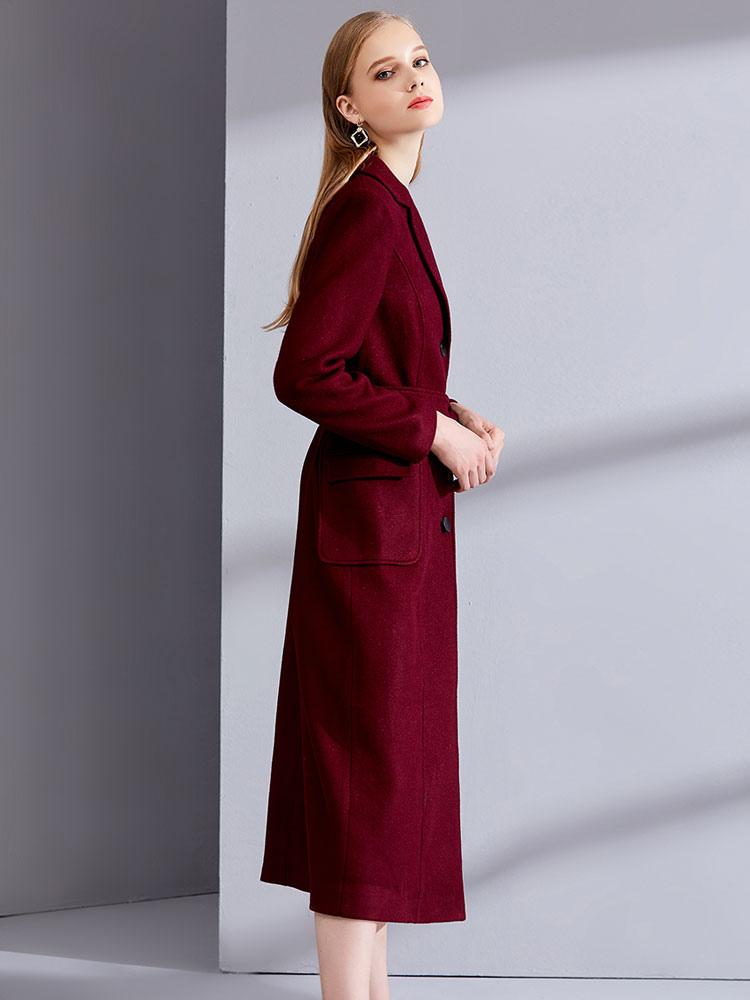 64fcf73796fa ... Burgundy Winter Coat Long Sleeve Notch Collar Wool Wrap Coats For Women-No.3  ...