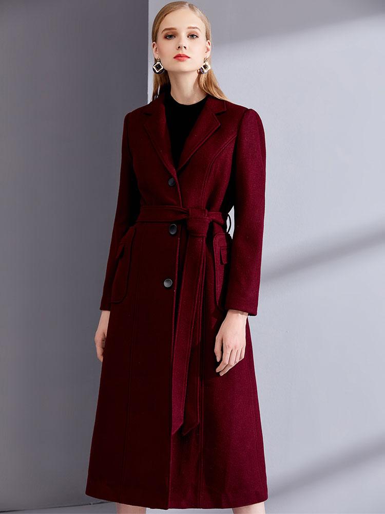 a7c24de645cb Burgundy Winter Coat Long Sleeve Notch Collar Wool Wrap Coats For Women-No.1  ...