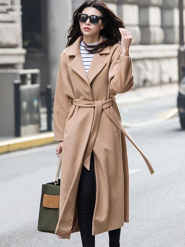 Women's Winter Coat Light Tan Long Sleeve Notch Collar Wool Wrap Coats