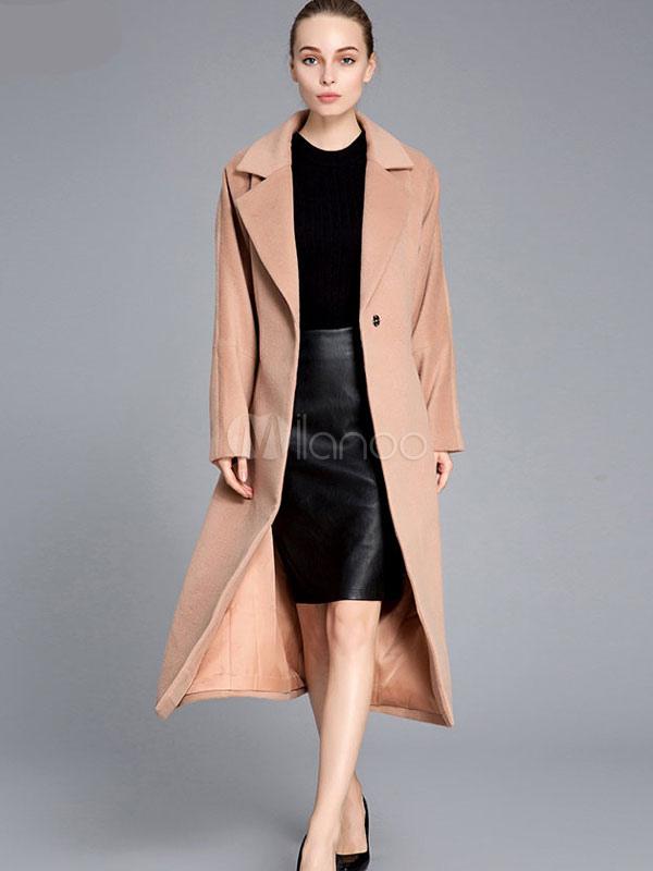 Women's Winter Coat Light Tan Long Sleeve Notch Collar Shaping Wool Wrap Coats