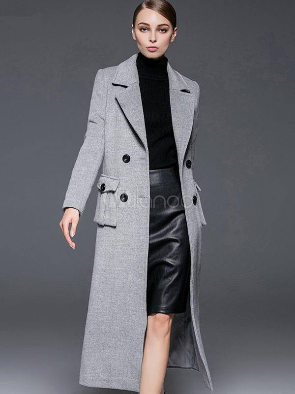 Grey Pea Coat Notch Collar Long Sleeve Women's Wool Coats