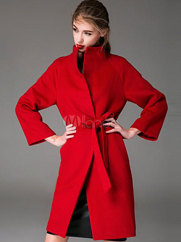 0ebe2f2b92221 ... Manteau femme hiver en laine avec ceinture manteau longue col montant  -No.2 ...