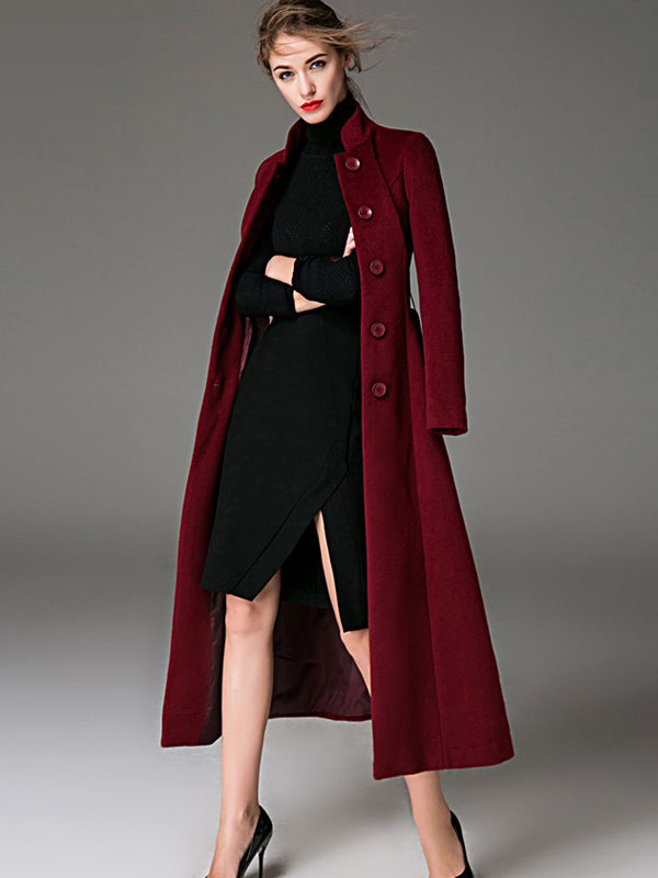 Women Coat Burgundy  Long Sleeves Button Up Sash Winter Coats