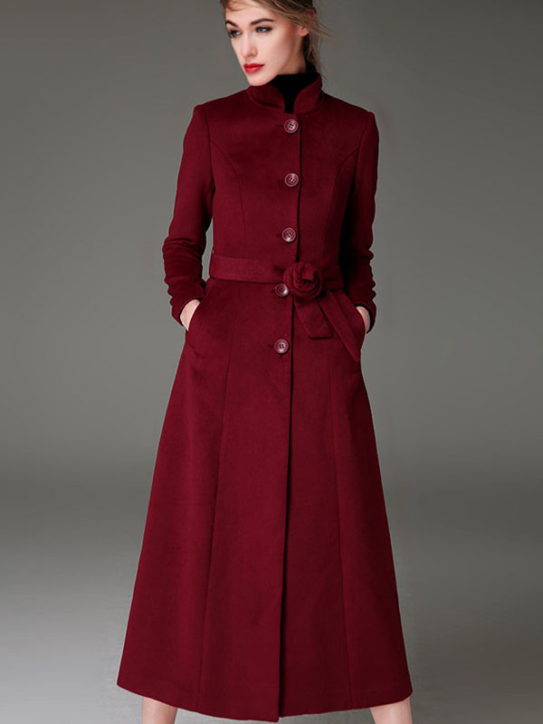 42c7568b1341 ... Women Coat Burgundy Long Sleeves Button Up Sash Winter Coats -No. ...