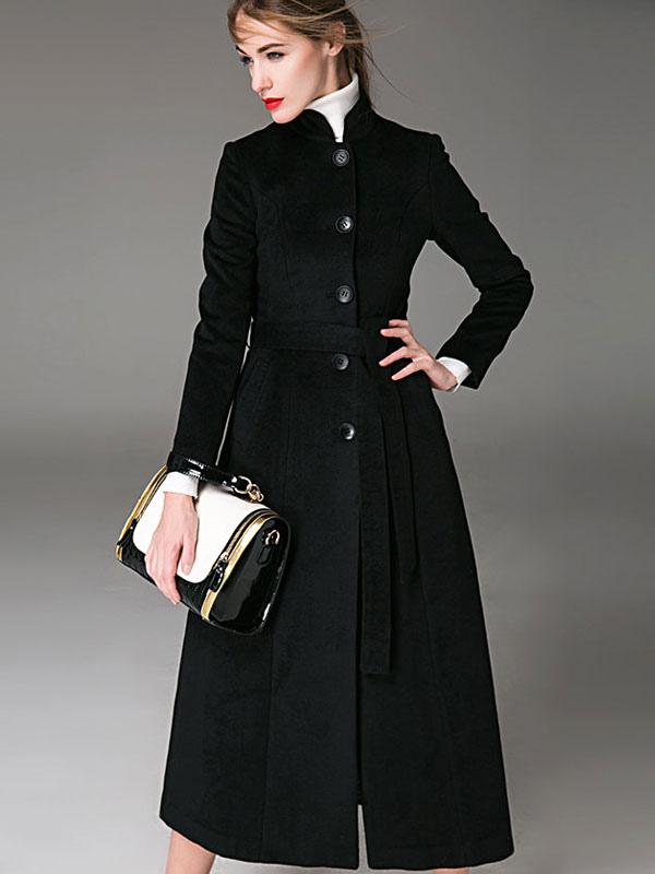 0a21fd8e751f Manteau femme hiver en laine avec ceinture col montant manteau long femme  hiver-No.