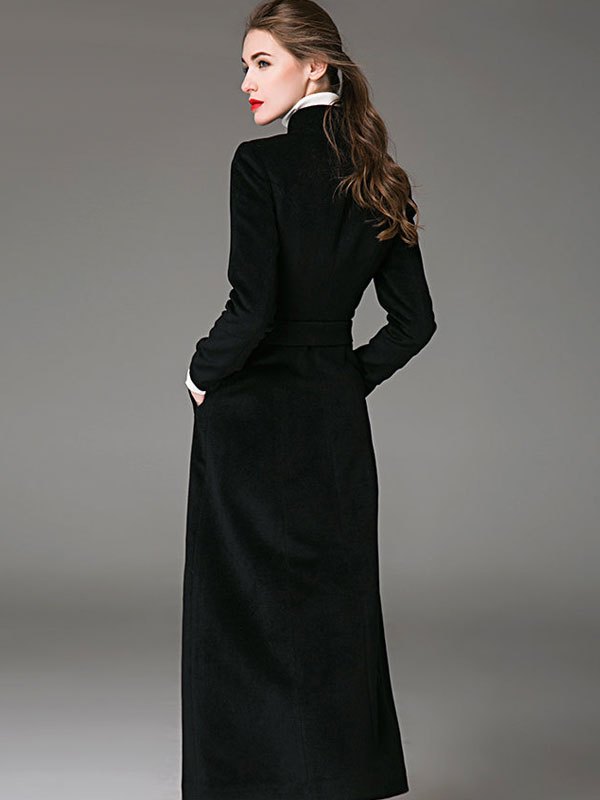 abc6af19af55d Manteau femme hiver en laine avec ceinture col montant manteau long femme  hiver-No.