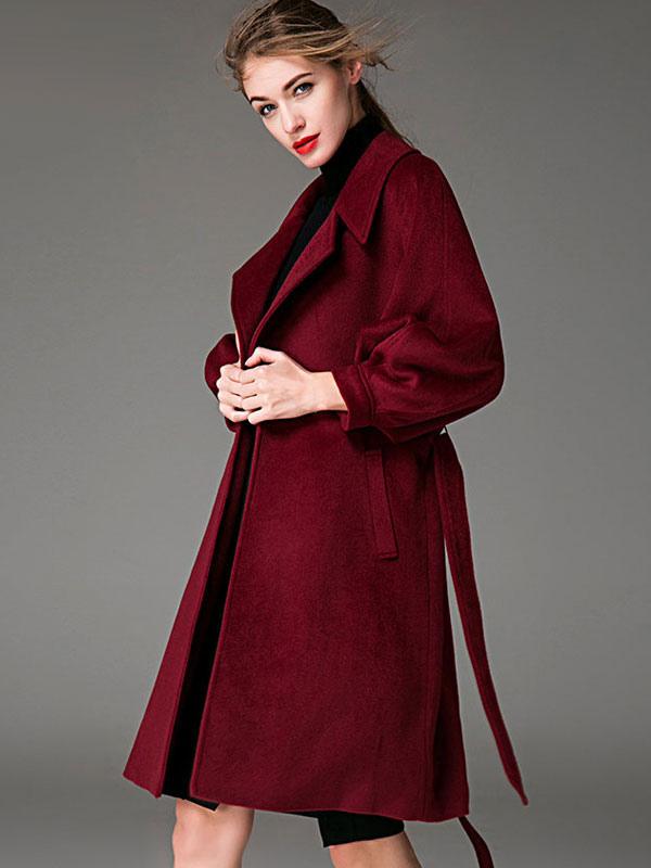 ae9052145a48 ... Women Coat Burgundy Wrap Coat Long Sleeves Sash Winter Coat-No.2 ...