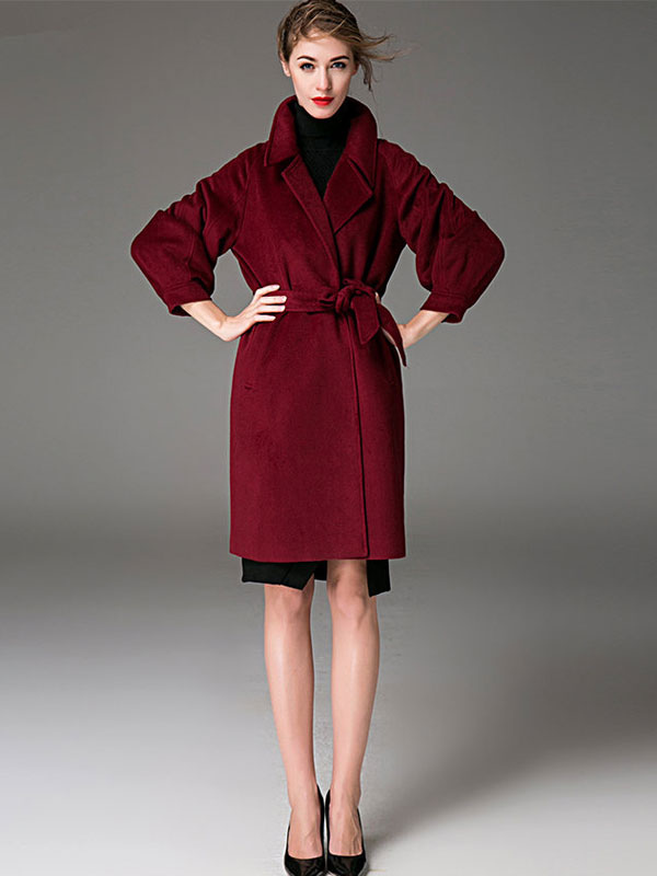 8e60c0ae40b0 ... Women Coat Burgundy Wrap Coat Long Sleeves Sash Winter Coat-No.3 ...