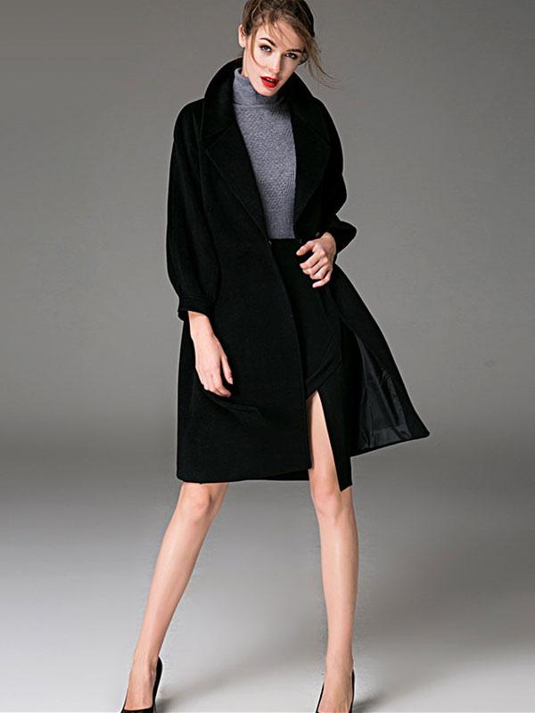 0c71152e4cef ... Women Coat Burgundy Wrap Coat Long Sleeves Sash Winter Coat-No.4 ...