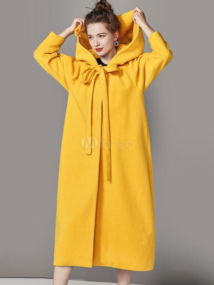 Relativ Manteau femme hiver en laine jaune surdimensionné à capuche  WD27