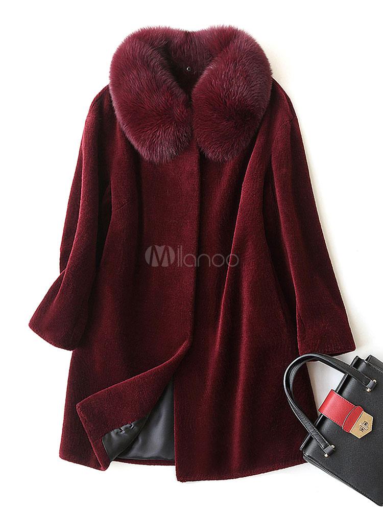 ddf607ee705 Faux Fur Overcoat Turndown Collar Furry Piping Long Sleeve Draped Women's  Burgundy Winter Coat