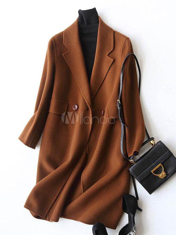 Buy Brown Wool Coat Turndown Collar Long Sleeve Cashmere Women's Coats for $194.74 in Milanoo store