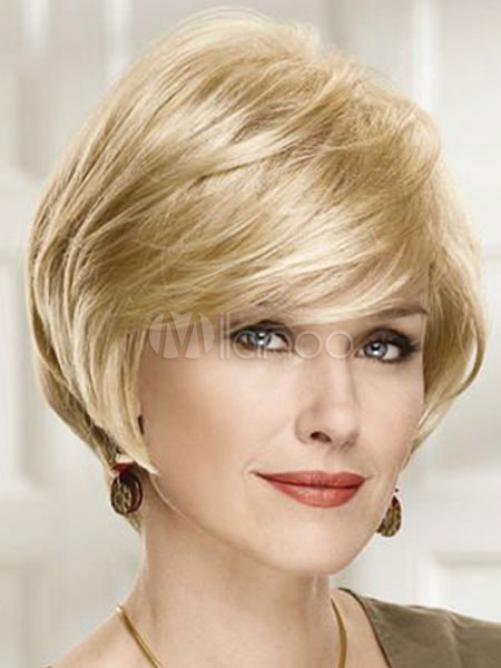 Short Blonde Wigs Women s Layered Boycuts Natural Wave Tousled Human Hair  ... f20c02cd24