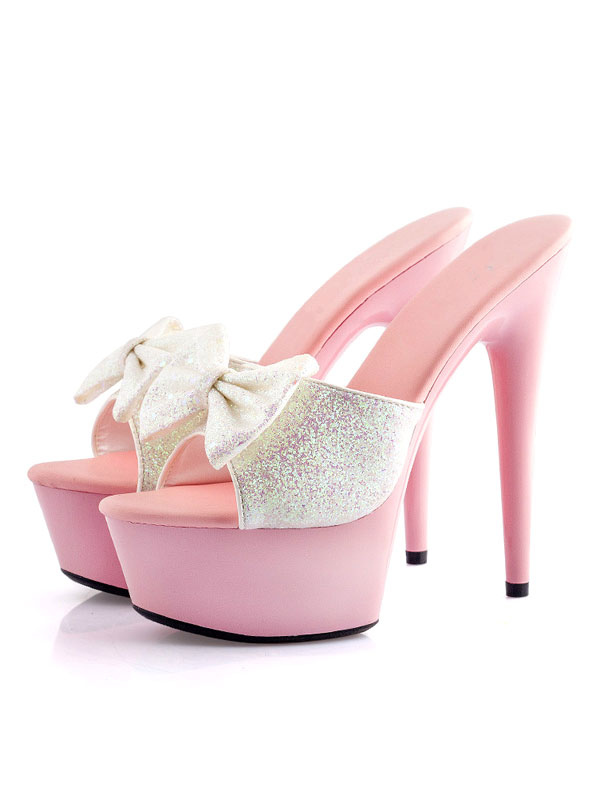 Sexy High Heels Women's White Open Toe Sequins Stiletto Bows PU Summer Mules