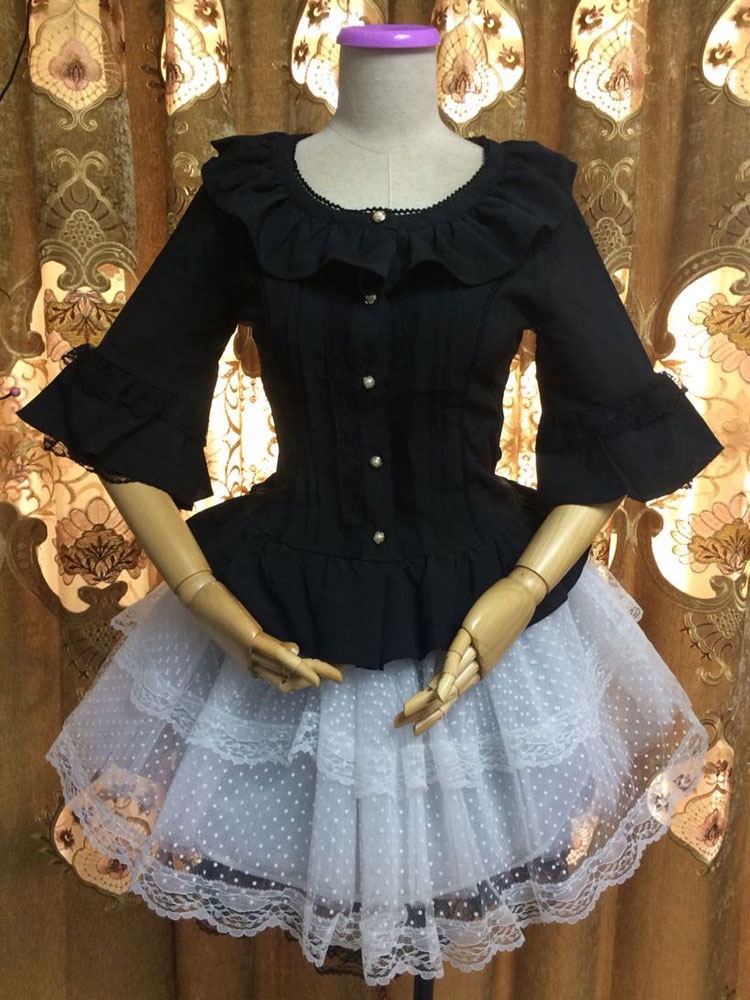 Buy Gothic Lolita Blouses Round Neck Bell Sleeve Ruffles Chiffon Black Lolita Top for $40.49 in Milanoo store