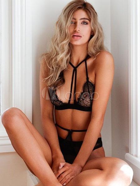 Lace Bralette Set Sexy Black Strappy Backless Bra With Panty