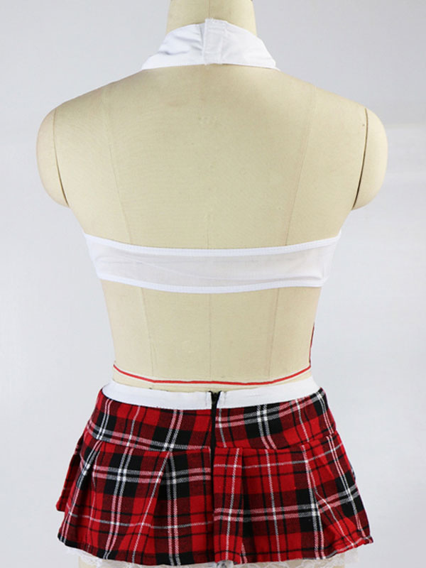 2b567c4f95d ... Red Sexy Lingerie Set School Girl Lace Tulle Semi Sheer Tartan Check  Women s Crop Top With ...