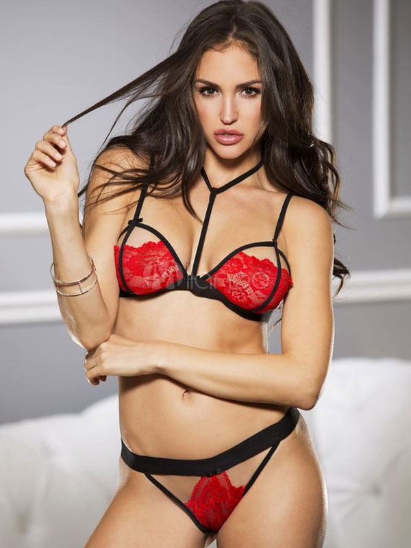 bf6d97acbc Red Bra Set Lace Strappy Cut Out Piping Backless 2 Pieces Sexy Lingerie-No.