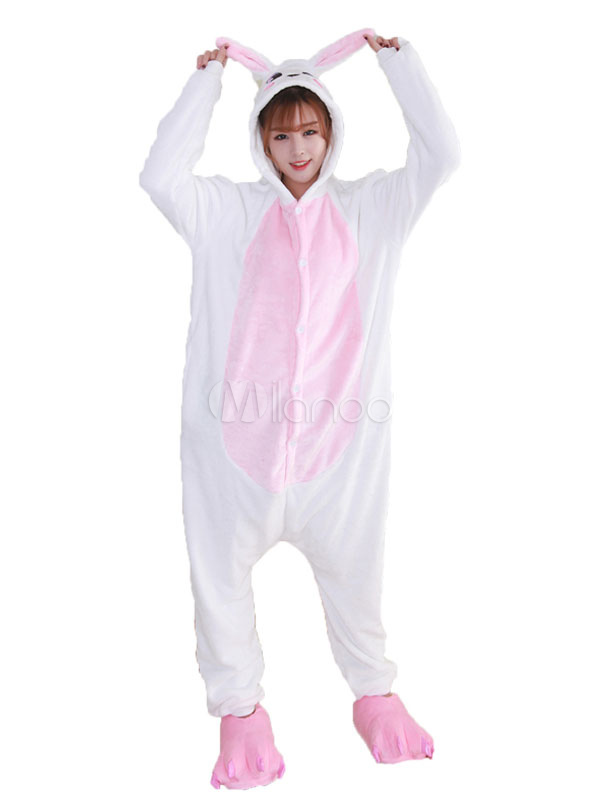 Buy Kigurumi Pajama Bunny Pink Flannel Unisex Winter Jumpsuit With Footwear Halloween Costume Halloween for $27.59 in Milanoo store