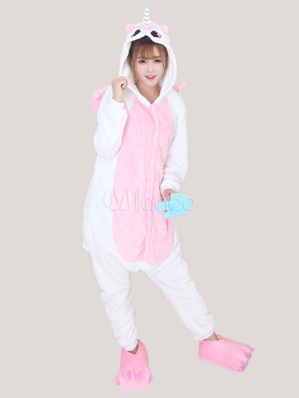 Buy Kigurumi Pajama Unicorn Pink Flannel Unisex Winter Jumpsuit With Footwear Halloween for $26.99 in Milanoo store
