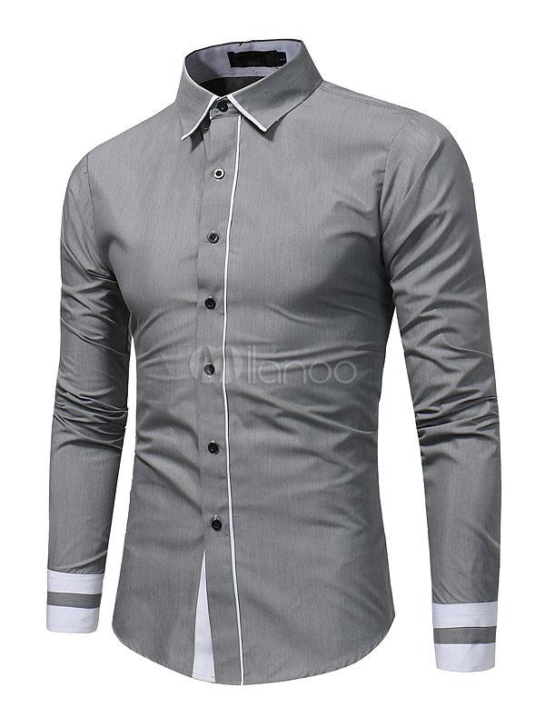 Grey Men's Shirt Long Sleeve Turndown Collar Two Tone Business Casual Shirts