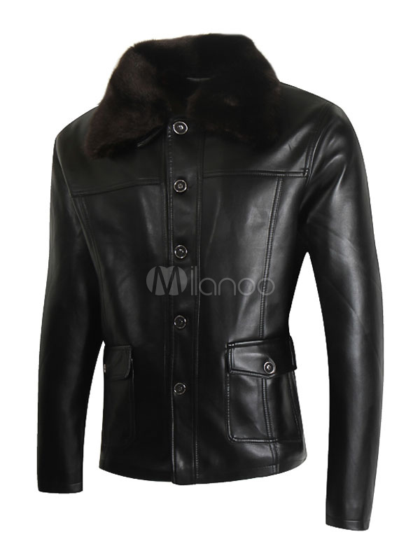 Buy Black Leather Jackets Men's Faux Fur Turndown Collar Long Sleeve Regular Fit Short Jacket for $41.39 in Milanoo store