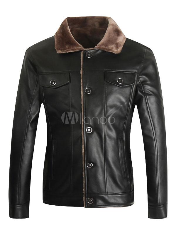 Buy Black Moto Jackets Men's Turndown Collar Long Sleeve Regular Fit Short Jackets for $37.99 in Milanoo store
