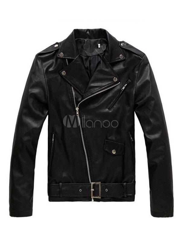 Buy Black Moto Jackets Men's Turndown Collar Long Sleeve Zip Up Regular Fit Short Jacket for $33.24 in Milanoo store