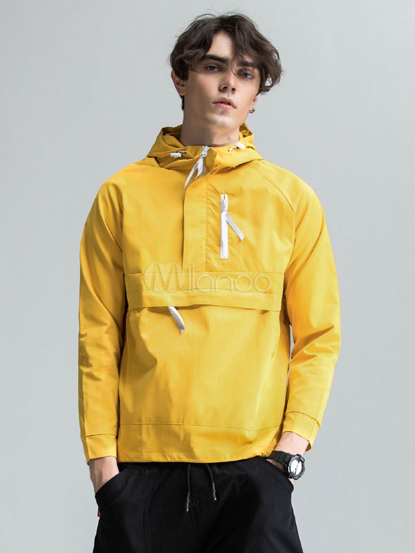 Yellow Men's Windbreaker Hooded Long Sleeve Hoodie